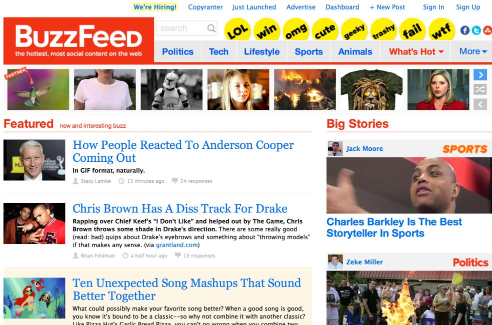 Buzzfeed.com homepage screenshot