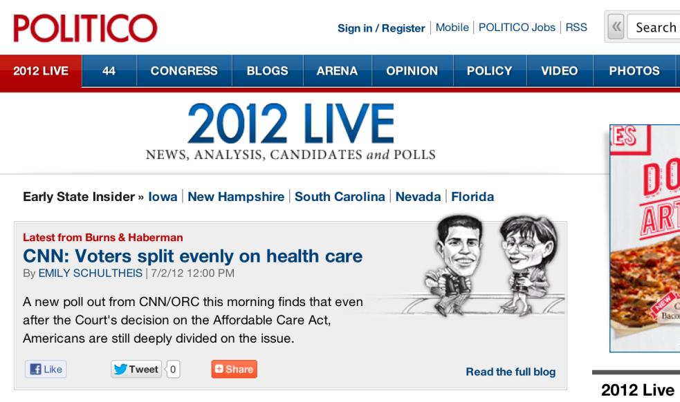 Politico.com homepage