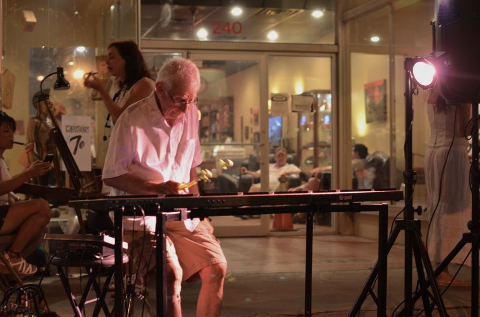 xylophone player at Heights Cigar on White Linen Night in the Heights